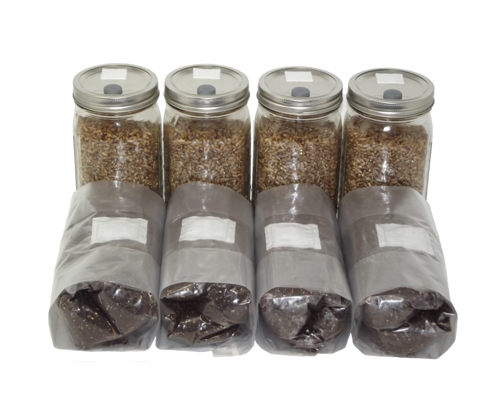 Four Quart Jars of Sterilized Rye and Four One Pound Bags of